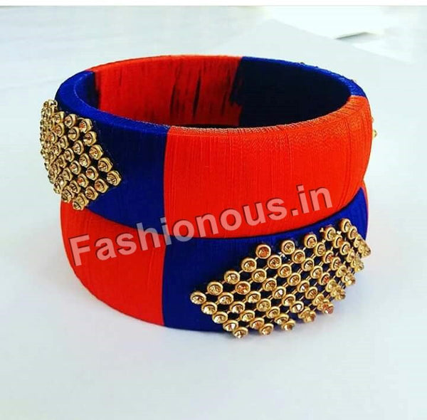 Blue and Orange Silk Thread Bangle pair