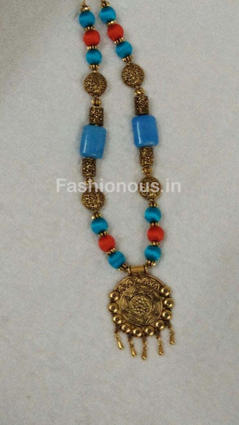 Blue and Orange Silk Thread Beads with Golden Oxidised Pendant-OXDJSW-029