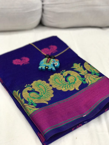 Blue and Pink Border with Peacock Design Silk Cotton Saree-SRE-260