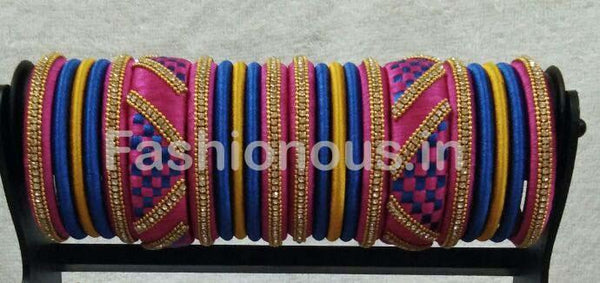 Blue and Pink Checked Stone Worked Silk Thread Bangle Set30-STJSW-044