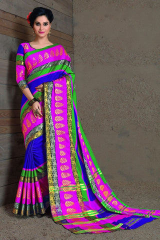 Blue and Pink Fancy Cotton Saree-SRE-397