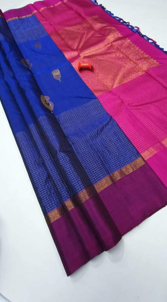 Blue and Pink Pure Silk Saree