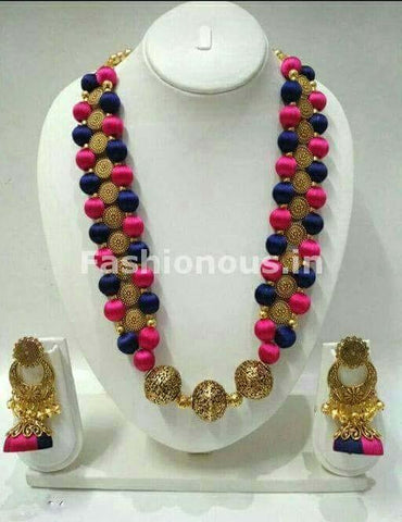 Blue and Pink Silk Balls with Antique Beaded Pendant Silk Thread Jewellery Set-STJS-049