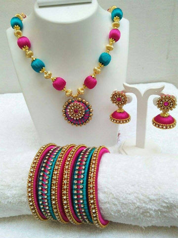 Blue and Pink Silk Thread Jewellery Set