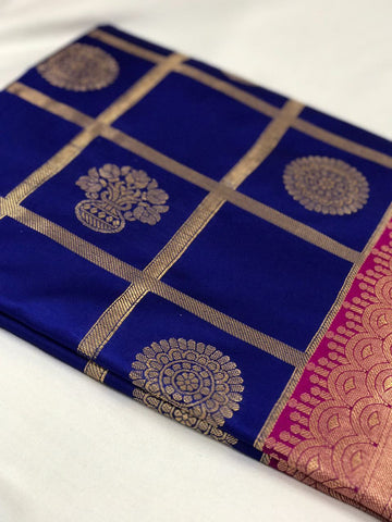 Blue and Pink with Floral Pot Zari Work Banarasi Silk Saree-SRE-134