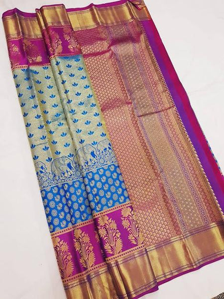 Blue and Purple Kanchipuram Silk Saree KRSS 001