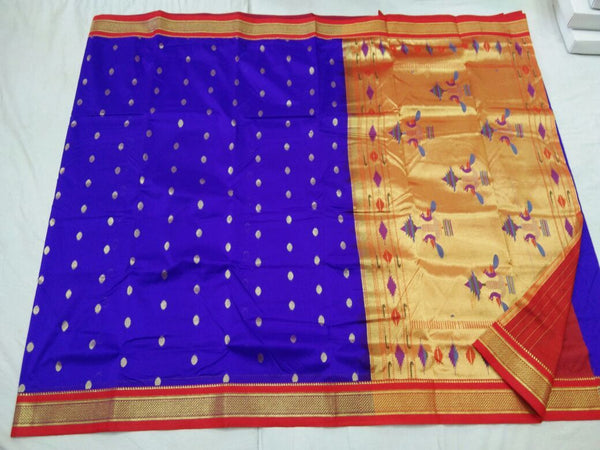 Blue and Red Border with Golden Peacock Pallu Semi Paithani Saree-PAITHANI-102