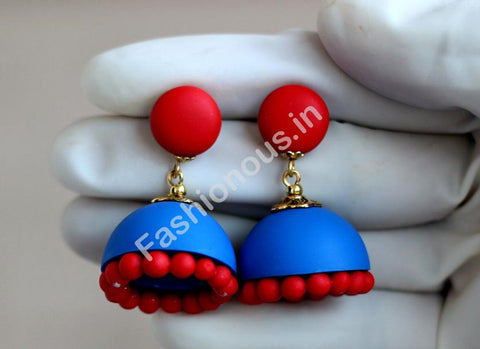 Blue and Red Jhumka-ZAPCJH-004