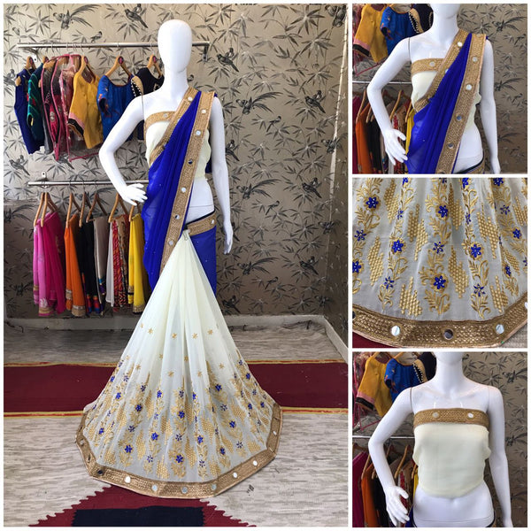 Blue and White Georgette Designer Saree-SRE-084