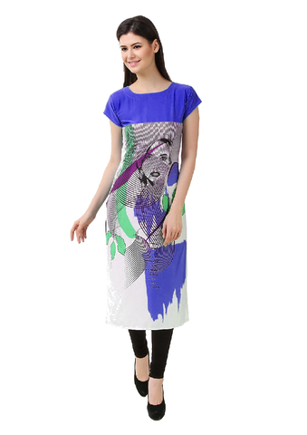 Blue and White Lady Face American Crepe Printed Kurti-KURTI-071