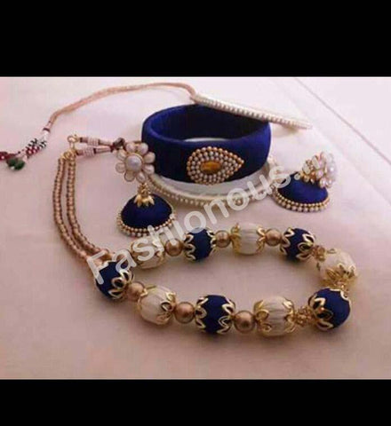 Blue and White Silk Thread Jewellery Set-STJSW-090