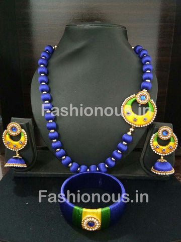 Blue and Yellow Chandbali Pendant Silk Thread Jewellery Set-STJSW-101