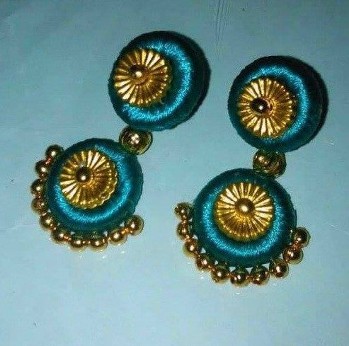 Blue and gold silk thread Earrings