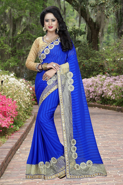 Blue colour Embroidery Patch Work Saree-SRP-GS-01