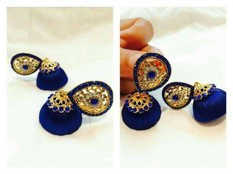 Blue stone studded Silk thread jhumkas