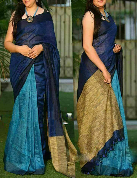Blue with Beige Pallu Linen Saree-LNSRE-024