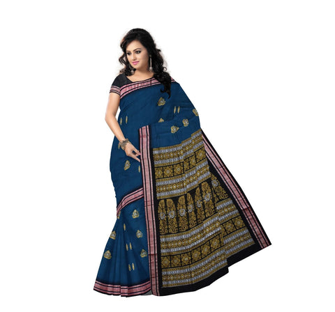 Blue with Black Handloom Bomkai Cotton Saree-AJ000118