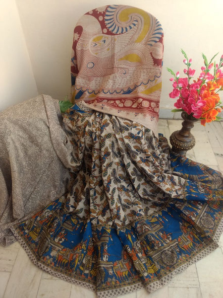 Blue with Butterfly Printed Cotton Kalamkari Saree-SRE-1408
