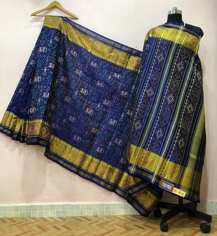 Blue with Diamond Elephant Designed Patola Silk Saree-PPSRE-025