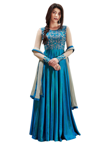 Blue with Floral Embroidery Anarkali Suit-LKEDM-127