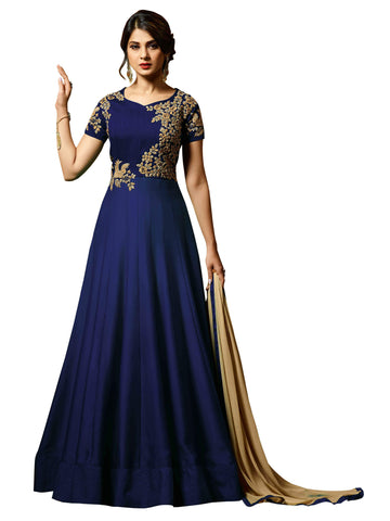 Blue with Floral Embroidery Anarkali Suit-LKEDM-140