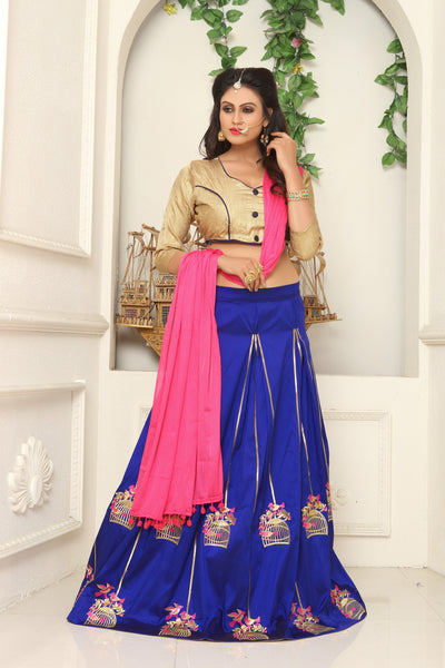 Blue with Golden Bird Stand Embroidery Taffeta Silk Lehenga-LKELG-004