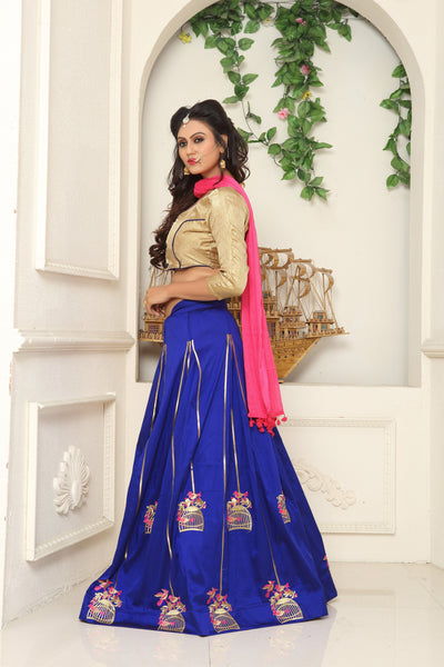 Blue with Golden Bird Stand Embroidered Taffeta Silk Lehenga