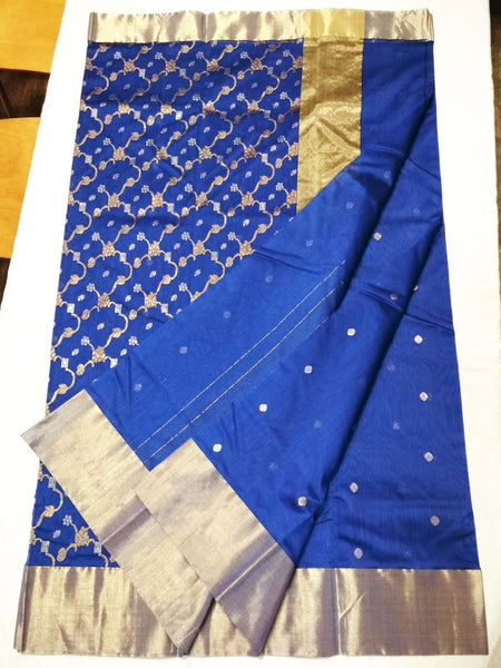 Blue with Golden Chained Floral Zari Border Chanderi Silk Saree-CHANSRE-080