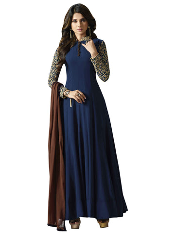 Blue with Golden Embroidery Anarkali Suit-LKEDM-108
