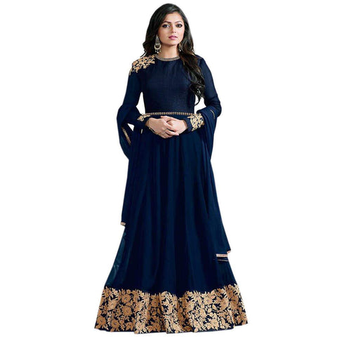 Blue with Golden Embroidery Anarkali Suit-LKEDM-122