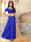 Blue with Golden Floral Embroidery Taffeta Silk Lehenga-LKELG-002