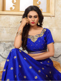 Blue with Golden Floral Embroidered Taffeta Silk Lehenga