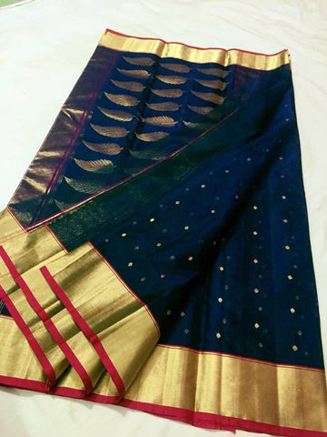 Blue with Golden Leaf Designed Zari Border Chanderi Silk Saree-CHANSRE-048