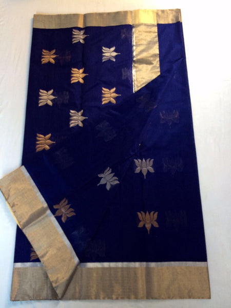 Blue with Golden Lotus Designed Zari Border Chanderi Silk Saree-CHANSRE-019