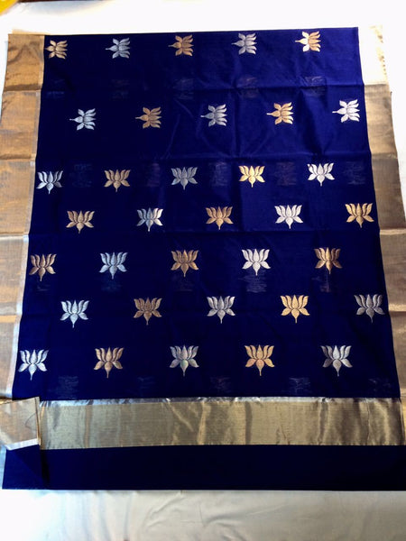 Blue with Golden Lotus Designed Zari Border Chanderi Silk Saree