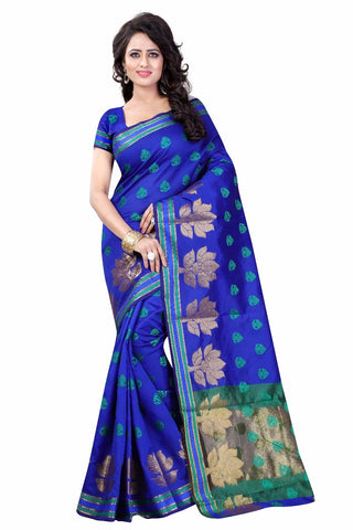Blue with Lotus Designed Pallu Banarasi Saree-SRE-991
