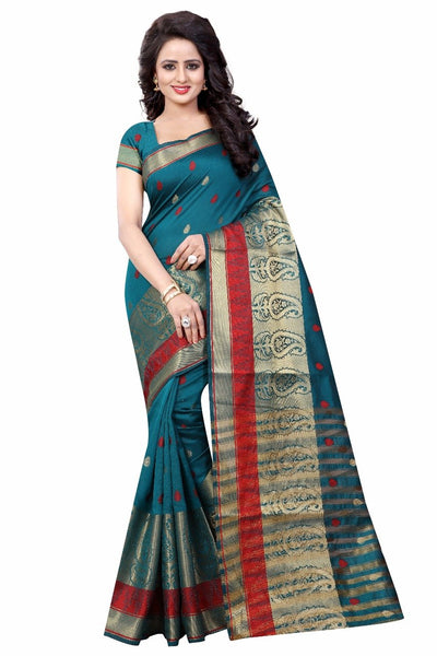 Blue with Mango Designed Pallu Banarasi Saree-SRE-985 dark green and red coloured silk saree