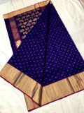 Blue with Mango Designed Zari Border Chanderi Silk Saree-CHANSRE-011
