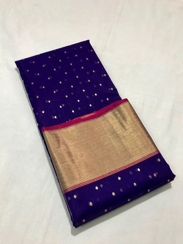 Blue with Mango Designed Zari Border Chanderi Silk Saree