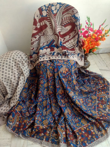 Blue with Mustard Floral Printed Cotton Kalamkari Saree-SRE-1402