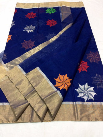 Blue with Muticolor Floral Designed Zari Border Chanderi Silk Saree-CHANSRE-028