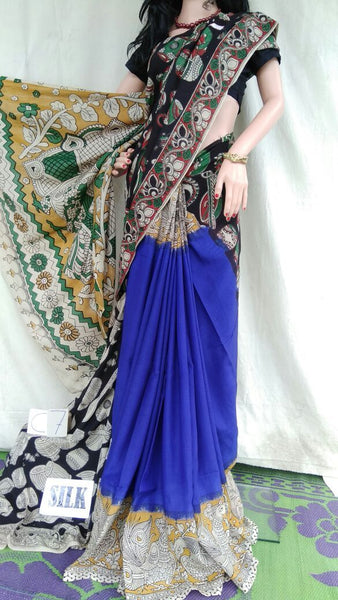 Blue with Patil Pallu Silk Kalamkari Saree-KALAMKARI-0006