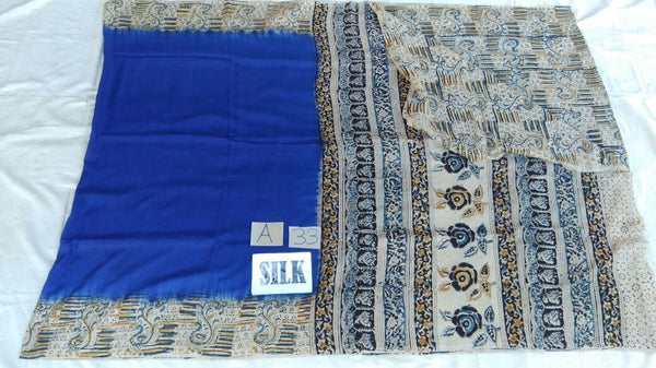 Blue with Patil Pallu Silk Kalamkari Saree-KALAMKARI-0008