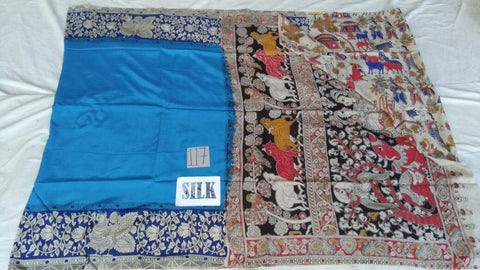Blue with Patil Pallu Silk Kalamkari Saree-KALAMKARI-0022