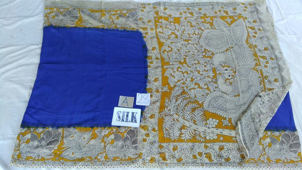 Blue with Patil Pallu Silk Kalamkari Saree-KALAMKARI-0066