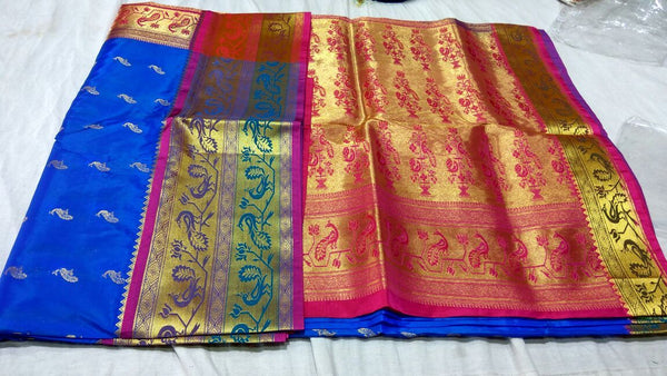 Blue with Peacock Designed Pink Pallu Paithani Saree-PAITHANI-002