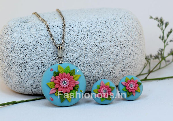 Blue with Pink Floral Necklace and Earrings-ZAPCNS-003