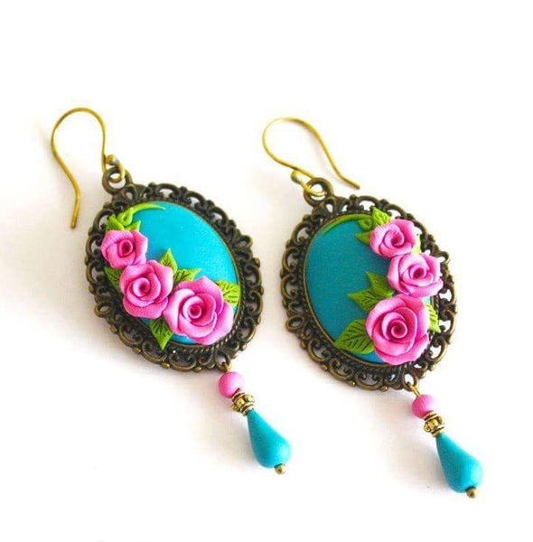 Blue with Pink Rose Polymer clay Earring