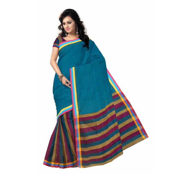 Blue with Tricolor Pallu Handwoven Cotton Saree-OSSWB027