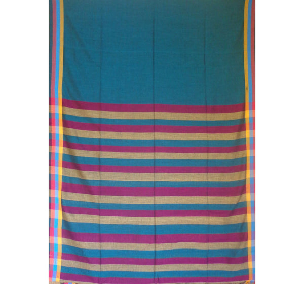 Blue with Tricolor Pallu Handwoven Cotton Saree